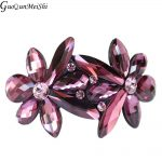 Wholesale <b>Supplies</b> Purple Crystal Flower Cellulose Acetate Wedding Hair Accessories <b>Jewelry</b> Barrette Tiara Pin Clip for Female