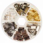About 120Pcs/Box 6 Colors Iron Ribbon Ends for <b>Jewelry</b> Craft <b>Supplies</b> 10x7x5mm <b>Jewelry</b> Making Findings