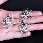 10pcs Silver Mermaid Pearl Cage <b>Jewelry</b> Making <b>Supplies</b> Colorful Bead Cage Pendant Essential Oil Diffuser For Pearl Jewellry