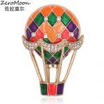 Romantic Enamel Air Balloon Brooch Pin Crystal Rhinestone Unisex Garment Accessory Vintage Fashion <b>Jewelry</b> Gift