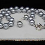 Prett Lovely Women's Wedding shipping>>>>>> <b>jewelry</b> 12MM silver-gray shell pearl necklace& earrings stud -silver-<b>jewelry</b>