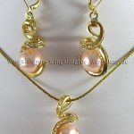 Prett Lovely Women's Wedding 12mm Pink South sea Shell Pearl Earrings & Necklace Pendant Set >AAA GP Bridal wide