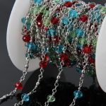 5Meters Multi-color Glass Bead Chains <b>supplies</b>,Faceted Rondelle Glass beads Sliver plated Wire Wrapped Brass Rosary Chains