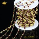 5Meters 3x4mm Dark Red Glass Wire Wrapped Faceted Rondelle Glass Chains,Plated Gold Links Glass Making Bracelet <b>Supplies</b> KS45