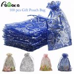 100pcs/lot Organza Gift Bags Cookies Gift Candy Food Packaging Bag for <b>Jewelry</b> Christmas Wedding Birthday Party Decor <b>Supplies</b>