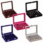 24 Slots Velvet Women Desk <b>Jewelry</b> Storage Box Portable Ring Necklace <b>Jewelry</b> Carrying Case Women Home Storage <b>Supplies</b> 5 Colors