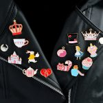 14pcs/set Alice's Adventures in Wonderland Brooches Collar Corsage Shirt bag cap Jacket Pin Badge <b>Jewelry</b> Gift for Kids Girls