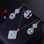 MeiBaPJ Natural Blue Topaz Jewelry Set 925 Pure <b>Silver</b> Color Treasure Ornament Suit Wholesale Recommendation
