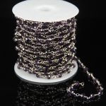 Rosary Craft <b>Jewelry</b> <b>Supplies</b>,Purple Glass Quartz Faceted Rondelle Beads Chains,Plated Silver Wire Wrapped Link Making Necklace