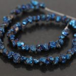 15.5″Strands Blue Titanium Coated Raw Crystal Quartz Drusy Geode Nugget Rubble Chip Loose Beads Necklace <b>Jewelry</b> <b>Supplies</b>