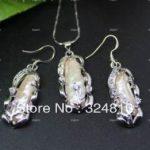Prett Lovely Women's Wedding Abnormal irregular Inlay Crystal White Pearl pendant necklace earrings set