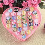 Wholesale <b>Jewelry</b> 36Pcs Fashion Cute emoji Adjustable Rings Kids Baby Ring Party <b>Supplies</b> Christmas Display Box Gift