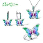 SANTUZZA Jewelry Set HANDMADE Enamel CZ Stones Butterflies Ring <b>Earrings</b> Pendent Necklace 925 <b>Sterling</b> <b>Silver</b> Women Jewelry Set
