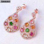 Women Natural Color Tourmaline <b>Earrings</b> Genuine 925 <b>Sterling</b> <b>Silver</b> Gemstone Fine Big Jewelry ZHHIRY
