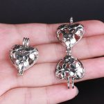 10pcs Silver Heart Pearl Cage <b>Jewelry</b> <b>Supplies</b> Colorful Bead Cage Pendant Essential Oil Diffuser For Pearl Jewellry