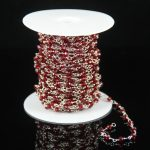 Fashion Rosary Beading <b>Supplies</b>,Tiny Red Glass Crystal Faceted Rondelle Beads Craft Bracelet,Plated Silver Wire Wrapped Necklace