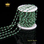 5Meter 3x4mm Dark Green Glass Faceted Rondelle Beads Rosary Chains Making Necklace <b>Supplies</b>,Plated Gun Black Wire Wrapped HX041