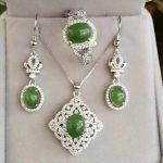 Natural Gemstone Jewelry Hetian Jasper White Gold Color Women 925 <b>Silver</b> Jewelry Set Wedding Necklace/<b>Earrings</b>/Ring Sets YJS007