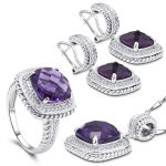 YY Fine Jewelry 925 <b>Sterling</b> <b>Silver</b> Romantic Diamond Boutique Lavender Amethyst Fashion woman Bohemia Set Ring <b>Earring</b> Pendant