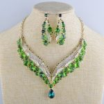 bridal wedding <b>Necklace</b> earring sets green color czech stone crystal party <b>Jewelry</b> set dress accessary Statement <b>necklace</b>