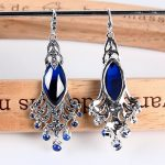 Luxurious New Pure 925 <b>Sterling</b> <b>Silver</b> with Blue Peacock Dangle <b>Earrings</b>