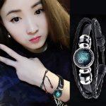 Free shipping! 12 constellation bracelet hand-woven beaded retro leather constellation bracelet cross-border <b>supply</b> <b>jewelry</b>