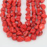 Orange Red Stone Pendants Loose Beads <b>Jewelry</b> strand Bulk,Howlite Drilled Slab Nuggets Necklace <b>Supplies</b> 15-20mm