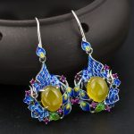 S925 <b>sterling</b> <b>silver</b> inlaid natural stone <b>earrings</b> is exquisite high-end new early adopters