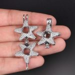 10pcs Silver Starfish Pearl Cage <b>Jewelry</b> Making <b>Supplies</b> Bead Cage Pendant Essential Oil Diffuser For Pearl Jewellry