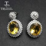 """TBJ,""""Party queen""""High quality Luxury Brazil Citrine <b>earring</b> for Party,Big gemstone <b>earring</b> in 925 <b>silver</b> for lady with gift box"""
