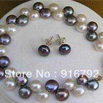 Prett Lovely Women's Wedding Wholesale Fashion Set 8-9mm Black Freshwater Pearl Bracelet Earring