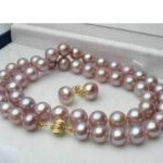 Prett Lovely Women's Wedding shipping> >7-8MM Natural Lavender akoya cultured pearl GP Earrings necklace Set 18″