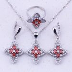 Superb Red Imitation Garnet & White AAA Zircon 925 <b>Sterling</b> <b>Silver</b> Jewelry Sets For Women Bridal Trend Fashion Jewelry J0074