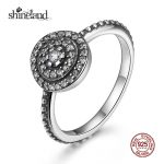 Shineland 2017 New Fashion 100% 925 <b>Sterling</b> <b>Silver</b> Finger <b>Rings</b> for Women Round Circle CZ Engagement <b>Ring</b> Vintage Fine Jewelry