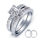 Solid 925 <b>Sterling</b> <b>Silver</b> 2-Pc Wedding <b>Ring</b> Set Wholesale 1 Carat Princess Cut Created Jewelry YR0006