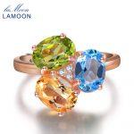 LAMOON S925 Wedding <b>Ring</b> 925 <b>sterling</b>–<b>silver</b>-jewelry 3pcs 3ct Oval Yellow Citrine Green Peridot Blue Topaz LMRI002
