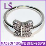 LS High Quality 100% Real 925 <b>Sterling</b> <b>Silver</b> Sparkling Butterfly <b>Ring</b> For Women DIY Fashion <b>Rings</b> 100% Fine Jewelry H