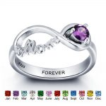 Personalized 925 <b>Sterling</b> <b>Silver</b> <b>Rings</b> For Women Engraved Name Colorful Birthstone Classic Mother Daughter <b>Rings</b> (RI101967)