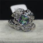 choucong Jewelry Lady's Fashion cute Mermaid <b>ring</b> cushion cut 8mm Rainbow Birthstone Cz 925 <b>Sterling</b> <b>Silver</b> Filled Wedding <b>Rings</b>