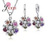 JEXXI Trendy 925 <b>Sterling</b> <b>Silver</b> Bridal Wedding Jewelry Sets Cubic Zirconia Stone Woman Necklace <b>Earring</b> Set Accessory