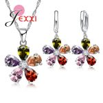 JEXXI Classic Flower Shape Pendant Necklace <b>Earrings</b> Sets Colorful Austrian Crystal Woman 925 <b>Sterling</b> <b>Silver</b> Jewerly Set