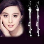 2016 New arrival high quality long tassels design 925 <b>sterling</b> <b>silver</b> female stud <b>earrings</b> wholesale jewelry