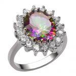Rose Rainbow Crystal Zircon 925 <b>Sterling</b> <b>Silver</b> <b>Ring</b> For Women Size 6 7 8 9 10 F1457