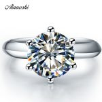 New Classic 1 Carat Synthetic Sona Solitaire <b>Ring</b> Women Wedding Bands 925 <b>Sterling</b> <b>Silver</b> Jewelry Engagement Promise Lovers <b>Ring</b>