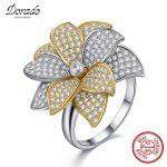 Dorado 925 <b>Sterling</b> <b>Silver</b> Flower <b>Rings</b> Fine Jewelry Engagement Zircon <b>Ring</b> Fashion Wedding Bands <b>Rings</b> For Women Gift