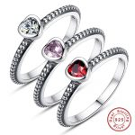 3 Colors Authentic 100% 925 <b>Sterling</b> <b>Silver</b> <b>Ring</b> Love Heart <b>Ring</b> Original Wedding Jewelry
