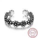 925 <b>Sterling</b> <b>Silver</b> Open <b>Rings</b> Adjustable Finger <b>Rings</b> Flowers Shape Trendy Women <b>Silver</b> Jewelry For Party (RI102702)