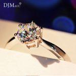 DJMACC Top Quality Brand 925 <b>Sterling</b> <b>Silver</b> <b>Ring</b> Single 6MM Zircon Engagement Wedding <b>Rings</b> For Women Fashion Jewelry(DJ0963)