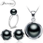 Real Wedding Natural Pearl Jewelry Sets 925 <b>Silver</b> Earring Set,Freshwater Pearl Sets Necklace <b>Ring</b> Women Best Birthday Gift