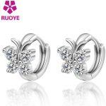 Fashion 925 <b>Sterling</b> <b>Silver</b> Luxury Crystal Stud <b>Earrings</b> Butterfly Design <b>Earring</b> For Women Girl Ear Jewelry Gift